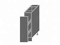Extom QUANTUM, skříňka dolní D/15 + cargo, pravá, vanilla mat/grey