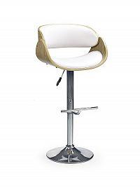 Halmar Barová židle H-43, bílá/dub