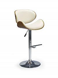 Halmar Barová židle H-44, krémová/ořech