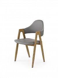 Halmar Jídelní židle K247 šedá/dub medový