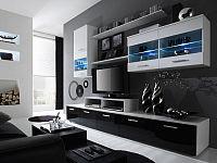 Halmar LOGO II, obývací stěna, bílá/černý lesk