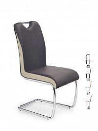 Halmar Židle K184, tmavě hnědá/champagne