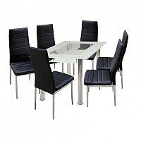 Idea Jídelní stůl VENEZIA + 6 židlí MILÁNO černá