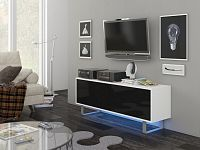 KING 1 TV stolek, bílá/černý lesk