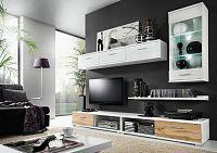 KRISMAR MALLIBU, obývací stěna, bílá/dub wotan