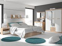 MAXIM ložnice 12, dub sonoma/bílý lesk