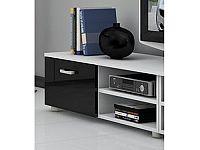 MORAVIA FLAT MAGIC, RTV stolek krátký, bílá/černý lesk