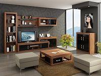 MORAVIA FLAT Obývací stěna VERIN 6, švestka wallis/černý lesk
