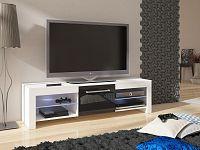 MORAVIA FLAT TV stolek FLEX, bílá/černý lesk