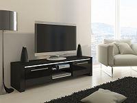 MORAVIA FLAT TV stolek HELIX, černá/černý lesk