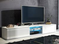 MORAVIA FLAT TV stolek HIT, bílá/bílý lesk