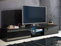 MORAVIA FLAT TV stolek HIT, černá/černý lesk