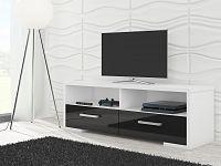 MORAVIA FLAT TV stolek ROMA, bílá/černý lesk