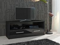 MORAVIA FLAT TV stolek TIRANA, černá/černý lesk