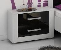 MORAVIA FLAT VIKY, noční stolek, bílá/černý lesk
