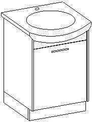 NANCY, skříňka pod umyvadlo, bílá/černý lesk