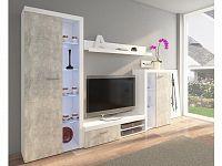 Obývací stěna RUMBA, bílá/beton