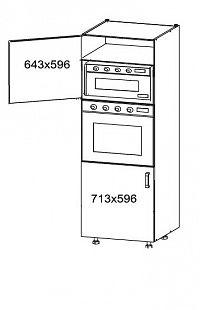 PLATE PLUS vysoká skříň DPS60/207, korpus ořech guarneri, dvířka světle šedá