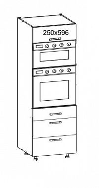 PLATE PLUS vysoká skříň DPS60/207 SAMBOX O, korpus šedá grenola, dvířka bílá perlová
