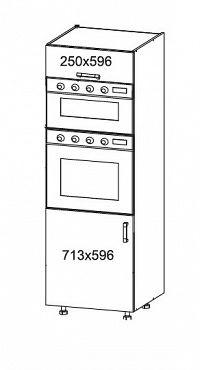 PLATE PLUS vysoká skříň DPS60/207O, korpus šedá grenola, dvířka bílá perlová