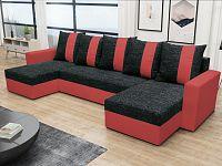 Rohová sedačka PRAGA U, černá látka/červená ekokůže
