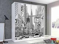 Skříň s obrázkem POP-ART 200 cm, bílá