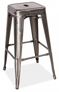 Smartshop Barová kovová židle LONG, ocel kartáčovaná