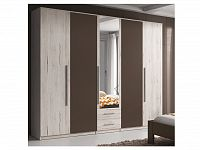 Smartshop BIANCA, skříň 229 TYP 21, se zrcadlem s 5ti dveřmi a 2 šuplíky, dub san remo bílý/san remo bílý-lava