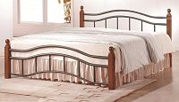 Smartshop CALABRIA, postel 160x200 s roštem, třešeň antická, kov/masiv