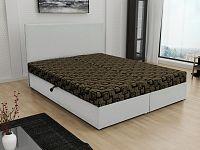 Smartshop Čalouněná postel JERRY 140x200, hnědá látka se vzorem/bílá ekokůže