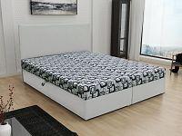 Smartshop Čalouněná postel JERRY 140x200, šedá látka se vzorem/bílá ekokůže