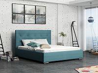 Smartshop Čalouněná postel SOFIE 1 160x200 cm s roštem a matrací, modrá látka