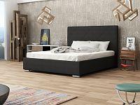 Smartshop Čalouněná postel SOFIE 5 140x200 cm s roštem a matrací, černá látka