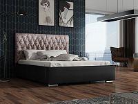 Smartshop Čalouněná postel TOKIO 140x200 cm s roštem a matrací, lanýžová látka/černá ekokůže