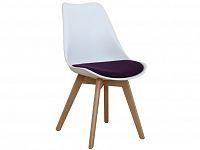 Smartshop Designová židle DAMARA s extra měkkým sedadlem, fialová látka/bílý plast/buk