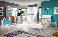 Smartshop Dětský pokoj RAJ 1, bílá/tyrkysový lesk