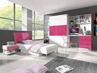 Smartshop Dětský pokoj RAJ 3, bílá/růžový lesk