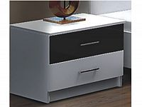 Smartshop DUBAJ, noční stolek, bílá/černé sklo