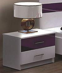 Smartshop DUBAJ, noční stolek, bílá/fialové sklo