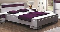Smartshop DUBAJ, postel 160x200 cm, bílá/fialové sklo