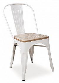 Smartshop Jídelní kovová židle LOFT, bílá/ořech