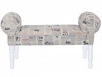 Smartshop Lavice CHARADE, látka se vzorem novin/nohy bílé