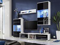 Smartshop LIPPI, obývací stěna, bílá/černý lesk
