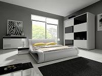 Smartshop Ložnice HAVANA III se skříní 240 cm, bílá/bílý + černý lesk