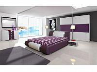 Smartshop Ložnice RIVA II se skříní 200 cm, bílá/bílý + fialový lesk