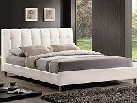 Smartshop NADI, postel 160x200 cm, bílá ekokůže