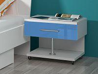 Smartshop Noční stolek RAJ, bílá/modrý lesk
