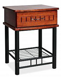 Smartshop Noční stolek SOPHIA, antická třešeň/černý kov