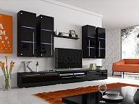 Smartshop Obývací stěna BARI s LED osvětlením, černá/černý lesk