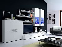 Smartshop Obývací stěna DELTA II s LED osvětlením, bílá/bílý lesk